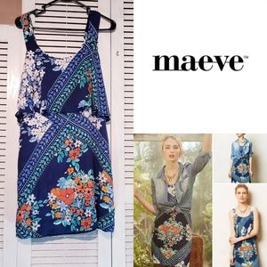 MAEVE for Anthropologie Blue Floral Tisana Dress 6